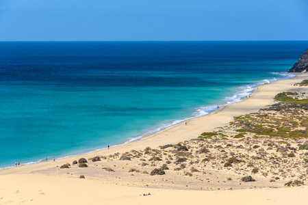 Aerial view of Sotavento Beach in Fuerteventura, Canary Islands, Spain