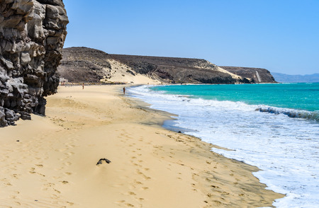Secluded white sand beach in Fuerteventura, Canary Islands, Spain