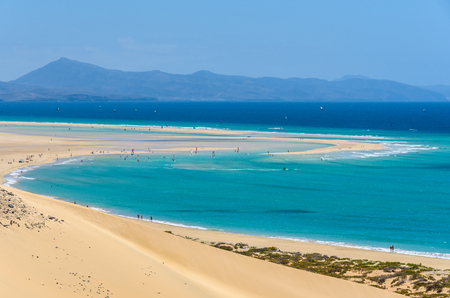 Aerial view of the lagoon on Sotavento Beach in Fuerteventura, Canary Islands, Spain