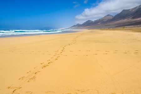 Alone on Cofete Beach in Fuerteventura, Canary Islands, Spain Stock Photo