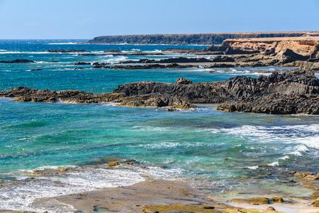 Coastal view of Jandia Peninsula in Fuerteventura, Canary Islands, Spain Stock Photo