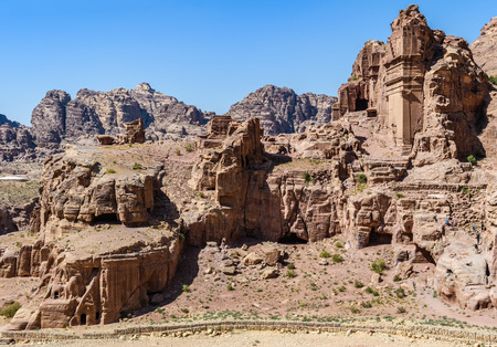 Tomb ruins in the Lost City of Petra, Jordan Stock Photo