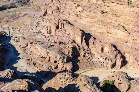 Aerial view of the Royal Tombs in the Lost City of Petra, Jordan