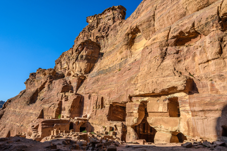Old tombs at sunset in the Lost City of Petra, Jordan