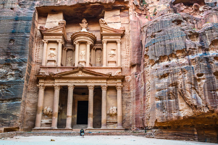 The Treasury at sunset in the Lost City of Petra, Jordan