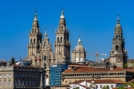 Towers of the Cathedral in Santiago de Compostela, Galicia, Spain