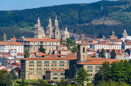 View of the Old Town from the Gaiás Cultural Center in Santiago de Compostela, Galicia, Spain