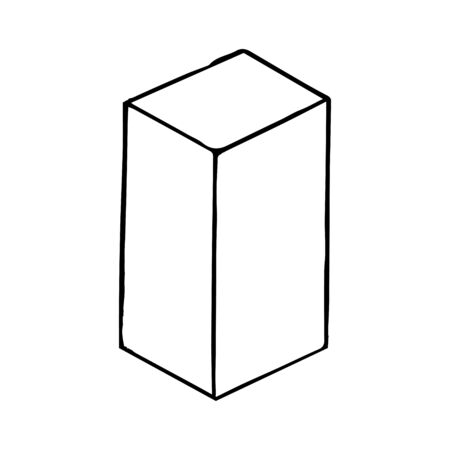 Mechanical drawing of parallelepiped. Simple isolated geometrical object for usage in technical documentation and further design. Black outline on white background. Vector illustration.