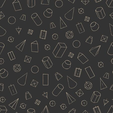 Seamless pattern with geometrical figures - parallelepiped, prism, pyramid, cylinder, cone, sphere, frustum. Hand draw background for textile, wallpaper, schoolbooks etc. Vector illustration EPS10