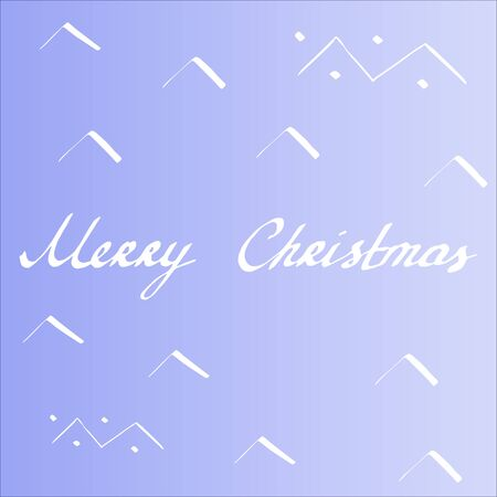 Lettering antiqua Merry Christmas. White vector calligraphy illustration with hand drawn patterns on purple gradient background. Typography for banners, badges, postcard, t-shirt, prints, posters. EPS10