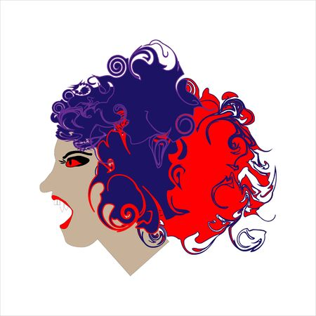 Portrait of evil woman. Line art doodle sketch. Colorful image on white background. Picture can be used in greeting cards, posters, flyers, banners, Halloween decoration etc. Vector illustration. EPS10 Illustration