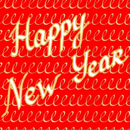 Lettering antiqua Happy New Year. Golden vector calligraphy illustration on red background. Typography for banners, badges, postcard, t-shirt, prints, posters, New Year decoration etc. EPS10 Illustration
