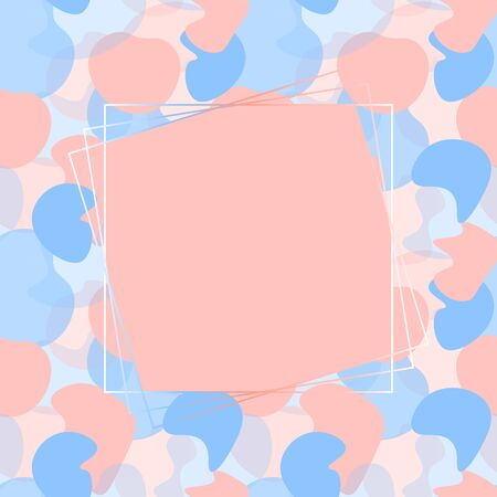Geometric frame with pink and blue abstract liquid flat splashes. Template can be printed on invitations, greeting posters, flyers, banners, cards, etc. Vector illustration. EPS10