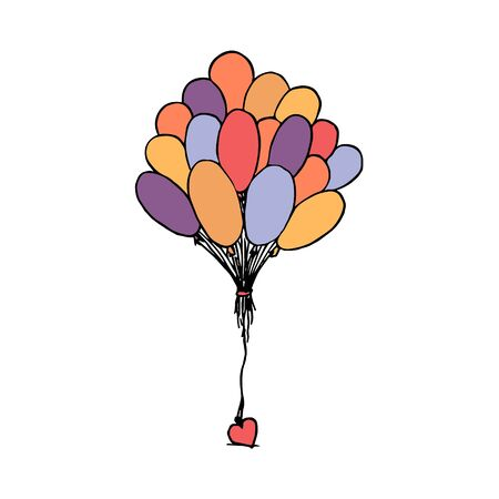 Bunch of balloons tied up together with a heart. Colorful outline on white background.