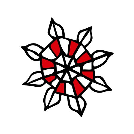 Winter snow flake. Colorful outline on white background. Picture can be used in christmas and new year greeting cards, posters, flyers, banners, etc. Vector illustration.