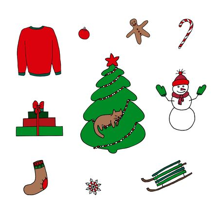 Winter set of elements - christmas tree, snowman, sleigh, sock, presents, gignerbread man, sweater, sweet cane, snow flake. Picture can be used in christmas and new year greeting cards, posters, flyers, banners, etc. Vector illustration. Çizim