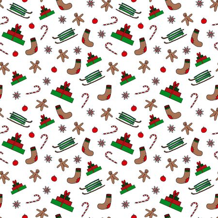 Winter Christmas seamless pattern. Hand drawing sketches on white background. Picture can be used in christmas and new year greeting cards, posters, flyers, banners, etc. Vector illustration.