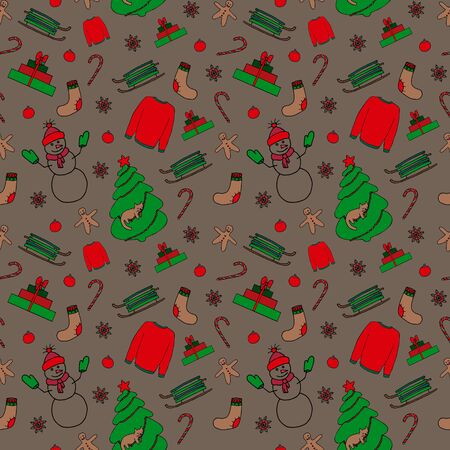 Winter Christmas seamless pattern. Hand drawing sketches on brown background. Picture can be used in christmas and new year greeting cards, posters, flyers, banners, etc. Vector illustration.