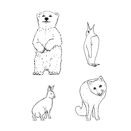 Set of northern winter animals: bear, penguin, rabbit, fox. Black outline on white background. Picture can be used in greeting cards, posters, flyers, banners, further design etc. Vector illustration.