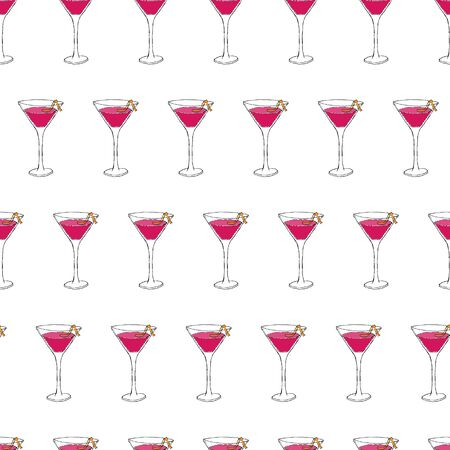 Cosmopolitan Cocktail seamless pattern. Hand drawing sketch outlines on pink background