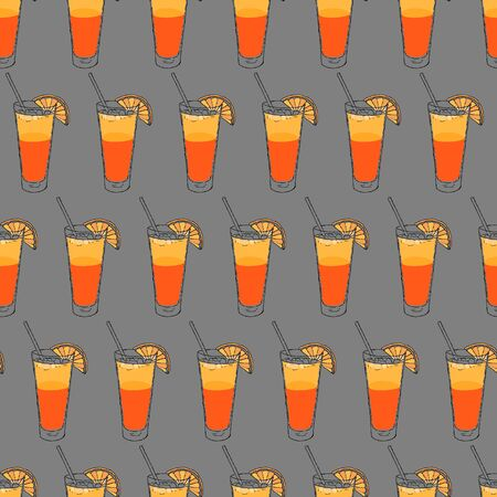 beach Cocktail seamless pattern. Hand drawing sketch outlines on grey background