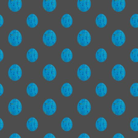 Blue Easter egg seamless pattern. Hand drawing watercolor sketch on grey background. Colorful illustration. Picture can be used in greeting cards, posters, flyers, banners, logo, further design etc.