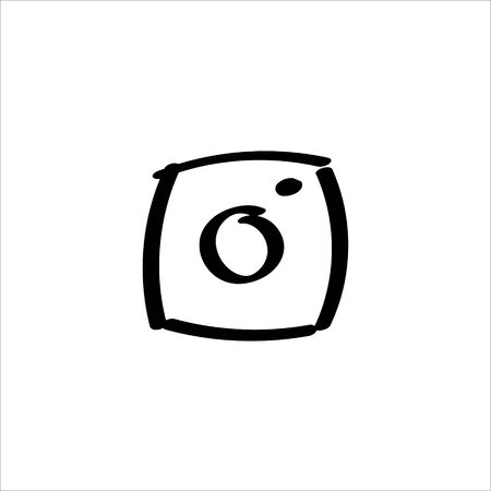 Icon sign with camera for Social pages section. Black hand draw doodle sketch can be used in greeting cards, posters, flyers, banners, logos, web design, CV etc. Vector illustration. EPS10