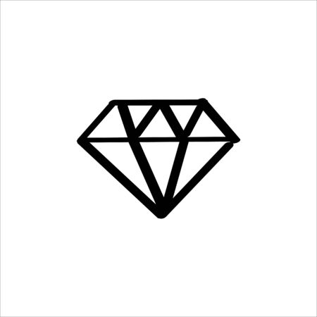Icon sign with diamond for Qualities section. Black hand draw doodle sketch can be used in greeting cards, posters, flyers, banners, logos, web design, CV etc. Vector illustration. EPS10 向量圖像