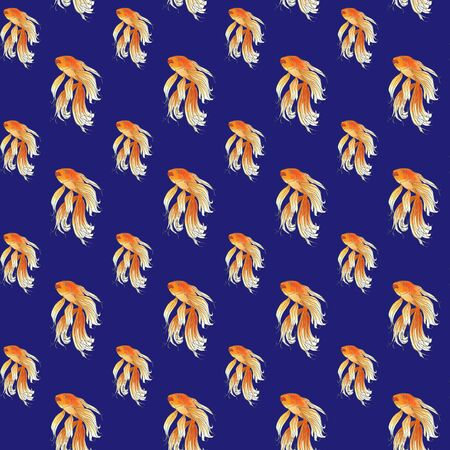 Seamless pattern of golden fish. Hand drawing sketch on blue background. Watercolor illustration can be used in greeting cards, posters, flyers, banners, logo, further design etc.