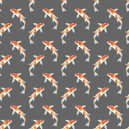 Seamless pattern of koi fish. Hand drawing sketch on grey background. Watercolor illustration can be used in greeting cards, posters, flyers, banners, logo, further design etc. 写真素材