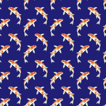 Seamless pattern of koi fish. Hand drawing sketch on blue background. Watercolor illustration can be used in greeting cards, posters, flyers, banners, logo, further design etc.