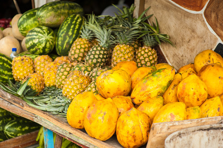 srilanka: A lot of tropical fruits in outdoor market in Sri-Lanka