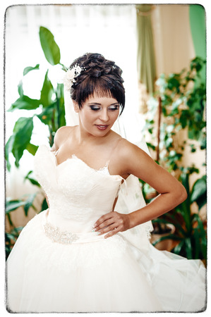 getting a bride: beautiful bride is getting ready in the morning. Stock Photo