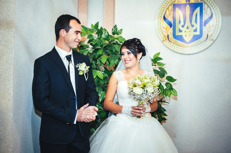 registry: wedding ceremony in a registry office, marriage. Stock Photo
