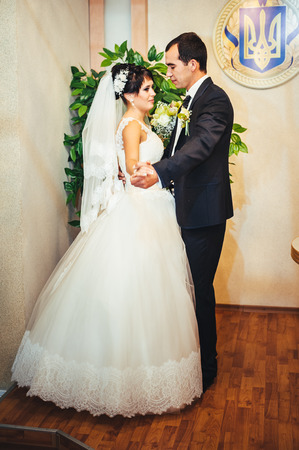 Wedding ceremony in a registry office, marriage. photo