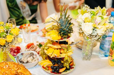 nice looking: nice looking and tasty food pineapple on wedding reception.