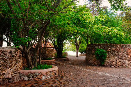 reconstructed: Road in park. Ancient village Altos de Chavon - Colonial town reconstructed in Dominican Republic