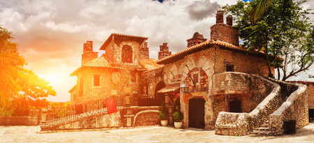 vocation: Ancient village Altos de Chavon - Colonial town reconstructed in Dominican Republic. Casa de Campo, La Romana, Dominican Republic. Vocation and travel. tropical seaside resort Stock Photo