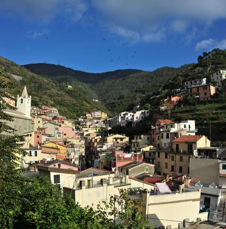 spezia: Aerial view of Vernazza - small italian town in the province of La Spezia, Liguria, northwestern Italy.