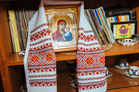 cult: traditional Icon and Embroidered wedding Towel. orthodox religion.
