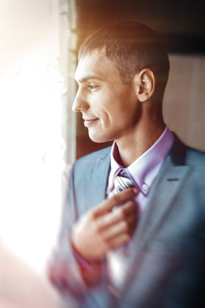 suit  cuff: Best man getting ready for a special day. Stock Photo