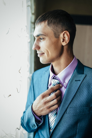 special day: Best man getting ready for a special day. Stock Photo