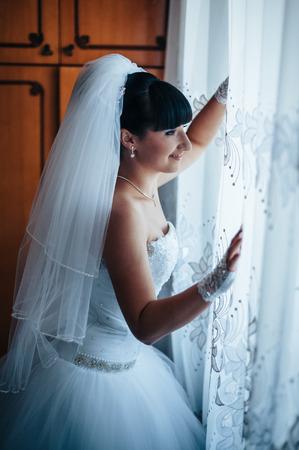 getting a bride: Bride getting ready.