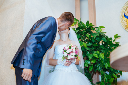 registry: A newly-married couple at registry office