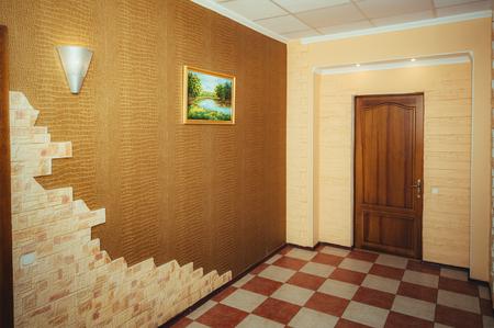 grand design: Grand design - corridor and main door. Modern entrance door house. the entrance hall with door