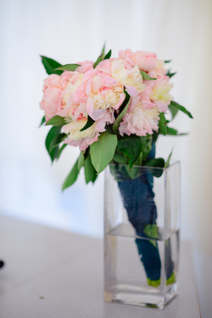 Floral Composition With A Peony And Roses In A Glass Vase Pink