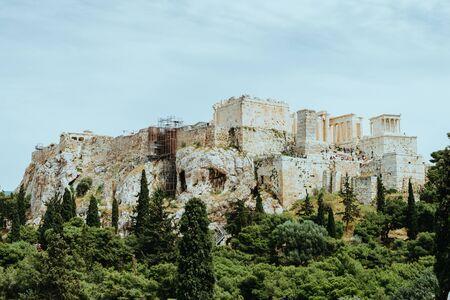Parthenon temple in Acropolis at Athens, Greece - travel background.