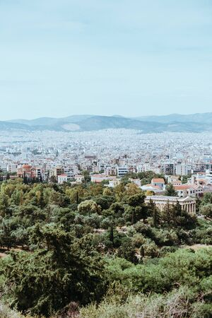 Famous Odeon theatre in Athens, Greece, view from Acropolis.