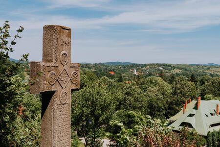 View from the Bran castle, Transylvania, Romania. Romania dracula castle cross.