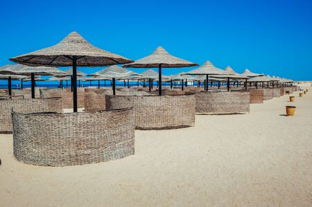 Empty beautiful clean beach with sunbeds and umbrellas, Egypt. Vacation concept. View of the beach with umbrellas and palm trees.